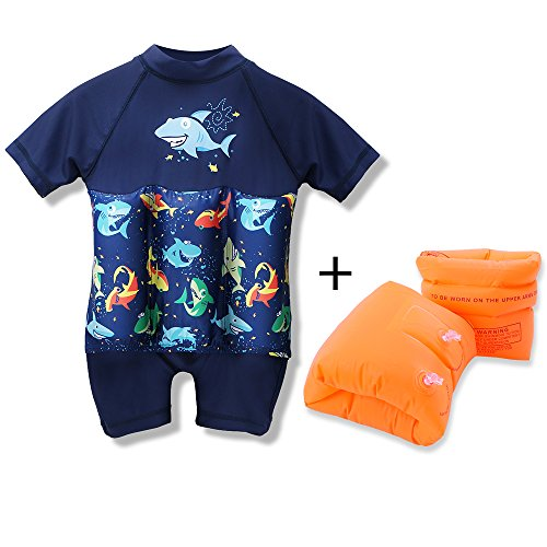 HOUZI Swim Float Arm Bands and Float Suit for Infants Babies Toddler Kids Baby Boys Girls Swimsuit Buoyancy Cartoon Orange Auxiliary Swimming Tool Inflatable Arm Floaties 6-12 Months