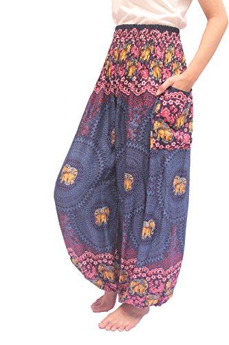 ChiangmaiThaiShop Harem Pant Yoga Bohos Extra Size For Men & Women Elastic Waist smocks Rayon (C-Navy, (Navy Smock)