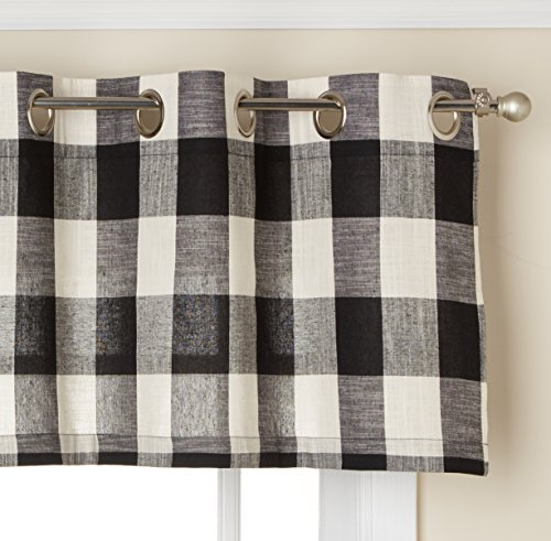 "Lorraine Home Fashions 09570-V-00146 BLACK Courtyard Grommet Window Curtain Valance, Black, 53"" X 18"""