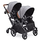 Contours Curve Tandem Double Stroller for Infants, Toddlers or Twins - 360° Turning and Easy Handling Over Curbs, Multiple Seating Options, UPF50+ Canopies, Graphite Gray