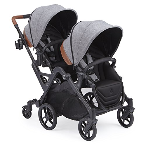 Contours Curve Tandem Double Stroller for Infants, Toddlers or Twins - 360° Turning and Easy Handling Over Curbs, Multiple Seating Options, UPF50+ Canopies, Graphite Gray ()