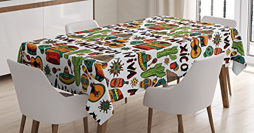 Ambesonne Mexican Decorations Tablecloth, Viva Mexico with Native Elements Poncho Tequila Salsa Hot Peppers Image, Dining Room Kitchen Rectangular Table Cover, 60 W X 90 L Inches, Orange Brown