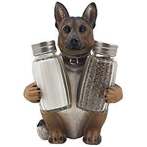 German Shepherd Police Dog Salt and Pepper Shaker Set with Decorative Display Stand Holder Canine Figurine for Kitchen Decor Table Centerpieces As K-9 Gifts for Policemen by Home-n-Gifts 1