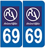 2 Stickers Autocollant style Plaque Immatriculation département 69 RA