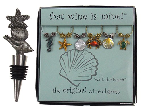 Starfish Shell Wine Bottle Stopper & Beach Themed Wine Charm Gift Set Bundle (Square Wine Bottle Stopper)