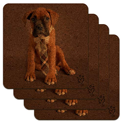 Boxer Puppy Dog Sitting with Tie Low Profile Novelty Cork Coaster Set