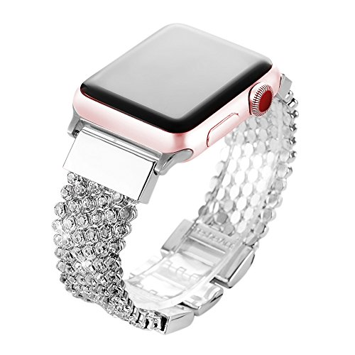 Price comparison product image Apple Watch Bands 38mm,  Soft CZ Crystal Chain Strap Replacement Band With Adjustable Metal Clasp for iWatch Series 1,  2,  3,  Sport Edition Nike+ Hermes,  Silver (Silver)
