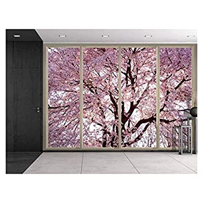 Quality Creation, Marvelous Craft, Branches Filled with Pink Cherry Blossom Flowers Viewed from Sliding Door Creative Wall Mural Peel and Stick Wallpaper