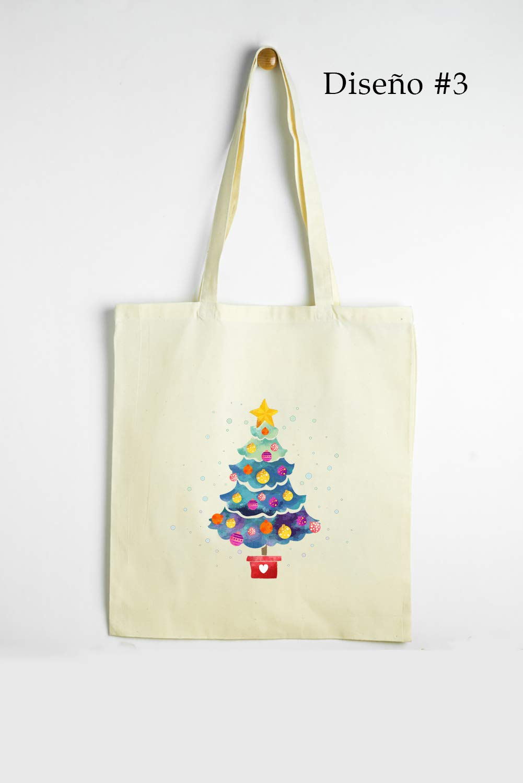 Gallaecia Studio Bolsa de tela de algodón orgánico con asas largas para los regalos de Navidad. Diseños a escoger Árbol navideño. Tamaño 41 cm x 37 cm.: Amazon.es: Handmade