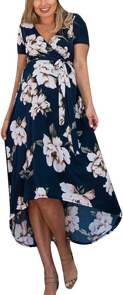 Vestido Floral de Maternidad de Verano para Mujer Embarazada Vestido de Verano con Cuello en V Casual Vestido de Flores de Manga Corta Ropa al Aire Libre