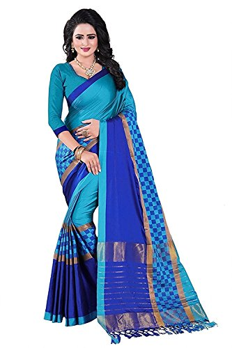 Mohit Creations Designer Multi Colored Printed Cotton Silk Saree for Womens with Unstitched Blouse by Mohit Creations