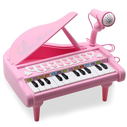 Pink Baby Grand Piano - Amy&Benton Toddler Piano Toy Keyboard Pink for Girls Birthday Gift 1 2 3 4 Years Old Kids 24 Keys Multifunctional Toy Piano