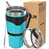 Atlin Tumbler [30 oz. Double Wall Stainless Steel Vacuum Insulation] - Turquoise Travel Mug [Crystal Clear Lid] Water Coffee Cup [Straw + Handle Included] For Home, Office, Ice Drink, Hot Beverage