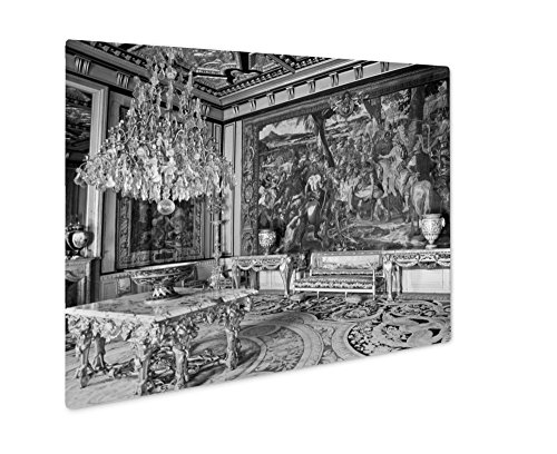 Ashley Giclee Interior In The Castle Fontainebleau, Wall Art Photo Print On Metal Panel, Black & White, 8x10, Floating Frame, AG5835103