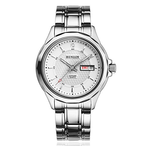BINLUN-Mens-Silver-Tone-Stainless-Steel-White-Dial-Officer-Watch-with-Day-and-Date