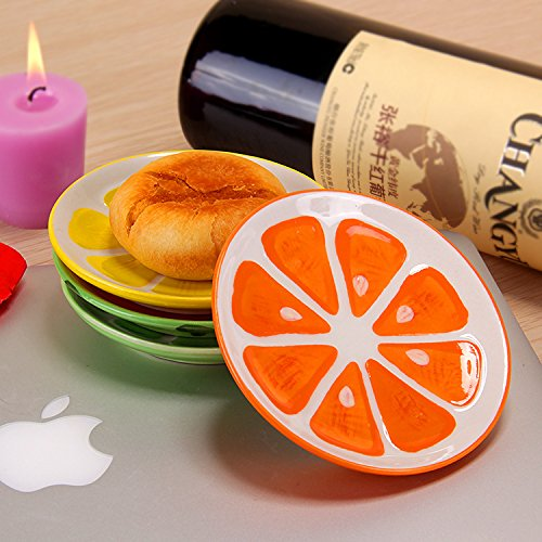 XDOBO 4Pcs Cute Fruit Pattern Ceramics Seasoning Dishes/Tea Bag Holders/Ketchup Saucer/Appetizer Plates/Vinegar Spice Salad Soy Sushi Wasabi Seasoning Dipping Bowls/Chili Oil by xdobo (Image #5)