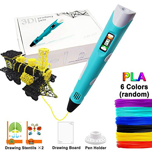 3D Pen for Kids and Adults Arts Crafts doodling Model DIY Safe and Easy to Use 3D Drawing Printing Pen with Led Display Include 6 Color PLA (Best Printer For Printing Artwork)