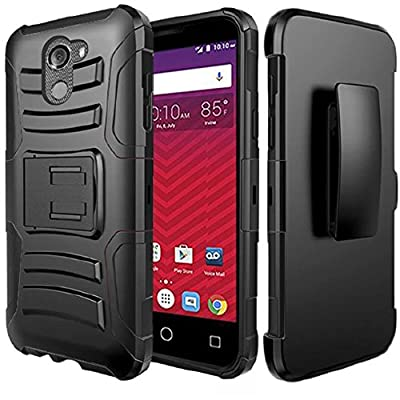 Alcatel Walters Case, REVVL Case (T-Mobile), Alcatel A30 Fierce Case, BornTech Heavy Duty Dual Layer Build in Kick stand with Belt Clip Holster Combo Rugged Phone Case Cover