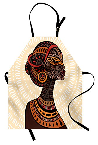 (Ambesonne African Woman Apron, Hand Drawn Ethnic Illustration Profile Portrait Tribal Ornaments Folk Art, Unisex Kitchen Bib Apron with Adjustable Neck for Cooking Baking Gardening, Multicolor )