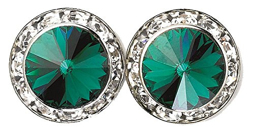 - Jewelryfinds Lady Deep Green 15mm Round Crystal Stud Earrings Made with Swarovski Elements-Deep Green