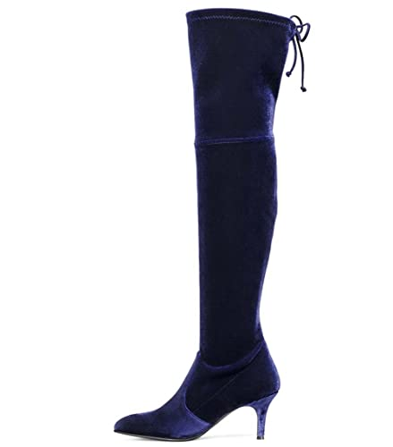 301fed093fd Amazon.com | Long Thigh Boots, Stiletto Mid Heels Over The Knee ...
