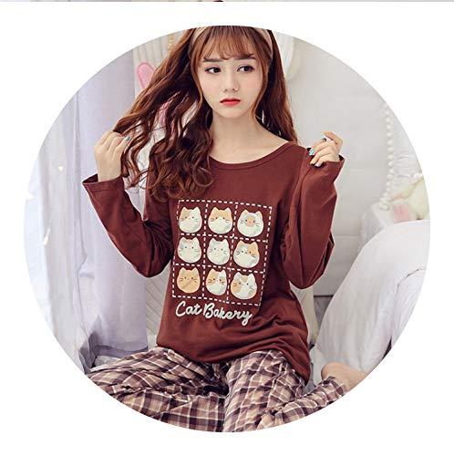 pursuit-of-self-Pajama Set M-XXL Women Pajamas Sets 100% Cotton Nightwear Spring Autumn Long Sleeve Pyjamas,MBF917,XXL