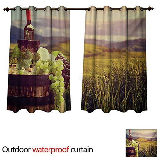 WilliamsDecor Wine Outdoor Balcony Privacy Curtain Italy Tuscany Landscape Rural Vineyard Autumn Harvest Grapes Drink Viticulture W108 x L72(274cm x 183cm)