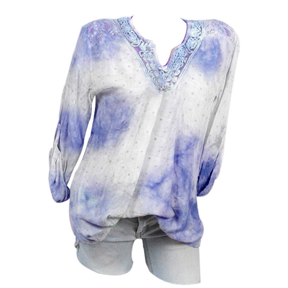 Qmber Damen Shirts Sweatshirts Pullover Tees Tops Oberteile Oversize Pulli Hoodie Elegant Hemden Langarm Blusen Tuniken, V-Ausschnitt Druck Spitze Plus Size Tunika