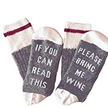 Unisex 100% Cotton Sock IF YOU CAN READ THIS BRING ME A GLASS OF WINE Socks
