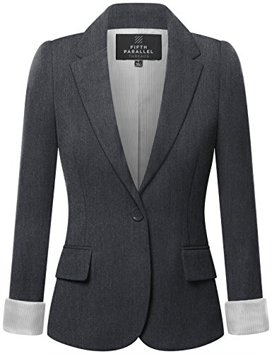 FPT Womens Basic Boyfriend Blazer CHARCOAL MEDIUM (Boy Blazers On Sale)