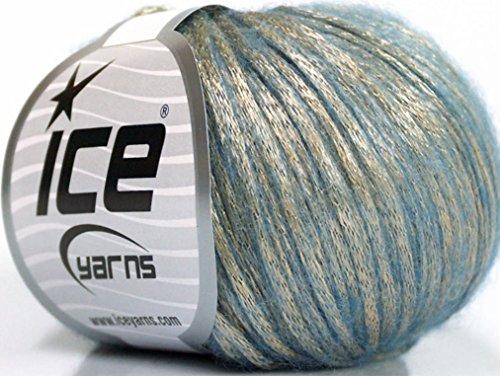 (Lot of 8 Skeins ICE Rock Star (19% Merino Wool) Yarn Gold Light Blue)