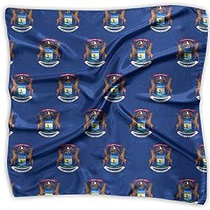 Women Vintage Michigan Flag Pattern Print Square Handkerchiefs Bandanas Head & Neck Tie Scarf