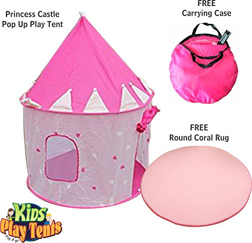 Girl's Crown Play Tent and a Round Coral Rug - Foldable Pop Up Pink Kids Play House Toy for Indoor & Outdoor Use - Beautifu Fairy Princess Castle,Conveniently Folds in to a Carrying Case (Playhouse Disney Outdoor)