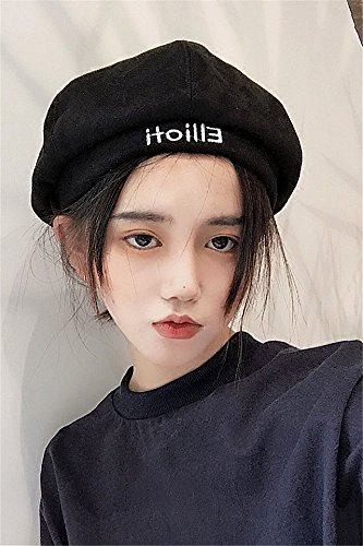 133e04dd8 Generic Korean version of Harajuku embroidery letter beret women girls lady  autumn and winter Beautiful influx of British men suede octagonal pumpkin  ...