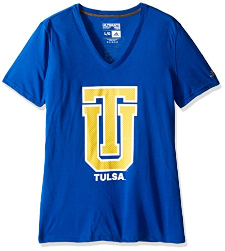 NCAA Tulsa Hurricane Adult Women Lined Logo S/Ultimate V Tee,2X-Large,Blue (Ncaa Tulsa Football)