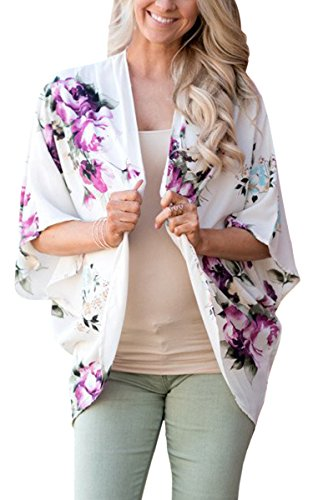 White Floral Shirt - ECOWISH Womens Floral Print Loose Puff Sleeve Kimono Cardigan Lace Patchwork Cover Up Blouse 955 White M