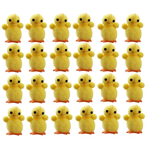 wang JESS Mini Chicks,24Pcs Cute Plush Yellow Easter Chicks Set Decoration for Easter Eggs Bonnet Party Favors Gifts for Kids from wang JESS