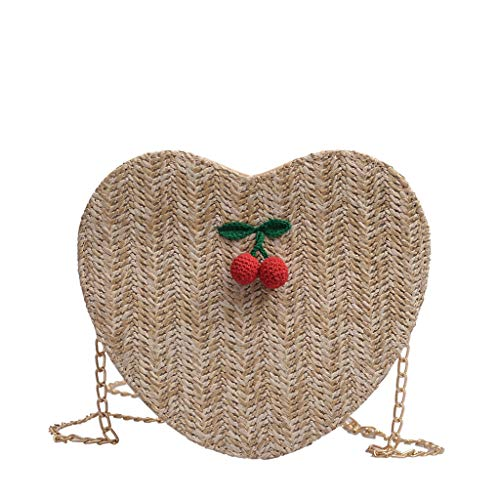 LiLi Meng Women's Fashion Cherry Accessories Solid Color Messenger Bag Love Woven PU -