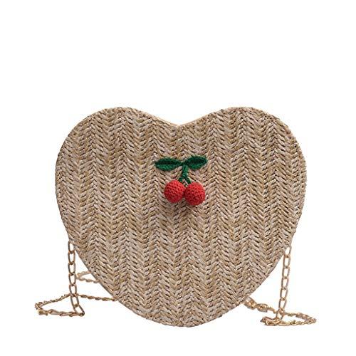 LiLi Meng Women's Fashion Cherry Accessories Solid Color Messenger Bag Love Woven PU Bag