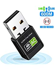 WiFi dongle. AC600Mbps high Speed USB Plug WiFi Network Adapter WiFi dongle Desktop Wireless USB WiFi Adapter Wireless Adapter Network USB High Speed Dual Band for Desktop/Laptop, Support Windows10