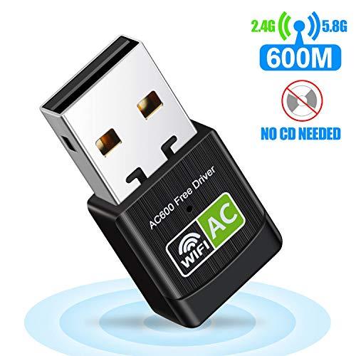 USB WiFi Adapter WiFi dongle AC600Mbps Hi-Speed USB Plug WiFi Network Adapter Desktop Wireless Adapter Network USB High Speed Dual-Frequency Desktop/Laptop, Support Windows10 / 8/7 / Vista/XP