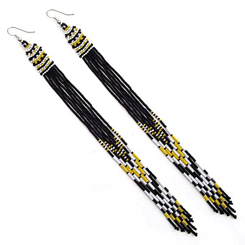 Glass Seed Bead Earrings - VivaApparel Handmade Bead Work Fashion Jewelry Black Yellow White Glass Seed Beads Beaded Extra Long Earrings E-53/12
