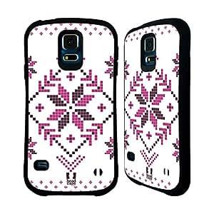 Head Case Designs Pink On White Fair Isle Winter Prints Hybrid Case for Samsung Galaxy S5 / S5 Neo