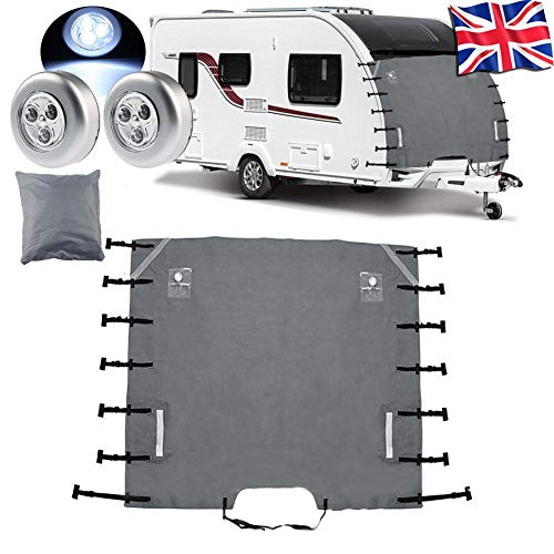 Mel Caravan Front Towing Cover, 210D Oxford Waterproof Caravan Universal Front Towing Cover Protector with 2 LED Lights, 220cm x 175cm/ 86.6in x 68.90in