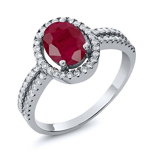 (2.65 Ct Oval Red Ruby Gemstone Birthstone 925 Sterling Silver Engagement Ring (Size 7))