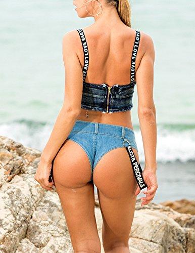 MODETREND Mujer Cabestrillo Chaleco Denim de Sin Mangas Camisa Tops Clubwear Azul