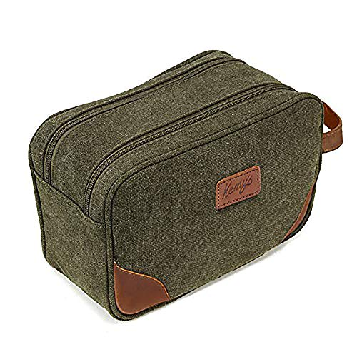 Kemy's Mens Bathroom Travel Bag Shaving Bags for Men Vintage Canvas Leather Toiletry Bag Dob Dopp Kit Women Makeup Bags Cosmetics Traveling Military Green Easter Gifts