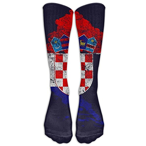 D-Twins Socks Unisex Croatia Flag And Map Croatian Pride Men's Sports Athletic Compression Football Soccer Socks Knee High Sock - BEST Stockings For Running, Medical, Athletic, Edema, Diabetic,