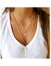 Simple Layered Bar Pendant Necklace Boho Feather Chain Necklace for Women Jewelry