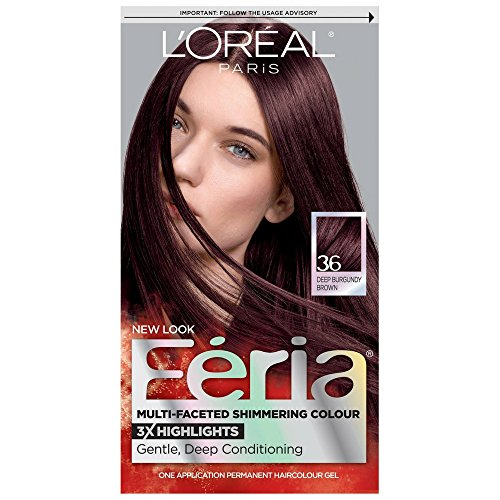 L'Oreal Feria Multi-Faceted Shimmering Colour, Warmer, 36 Deep Burgundy Brown, 1 ea (Pack of 4)